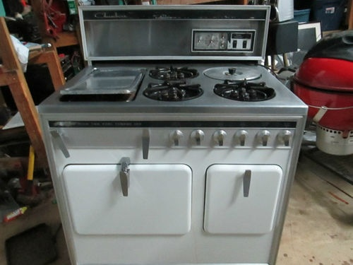 Antique Chambers Gas Stove 3 Burner Oven Stewer Model Mr 9