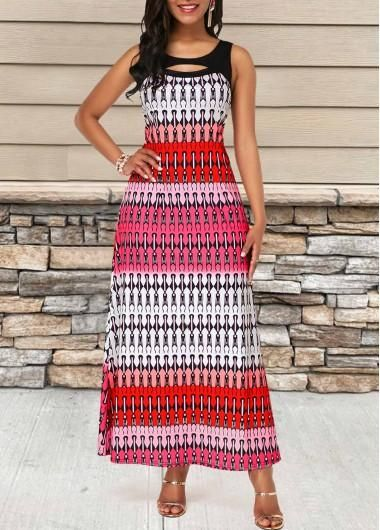 #AdoreWe #Rotita  – unsigned Sleeveless Cutout Front Geometric Print Dress – Ado…