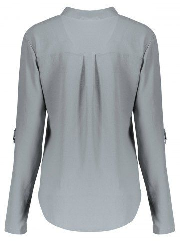 GRAY Concise Solid Color V-Neck 3/4 Sleeve Chiffon Blouse For Women L