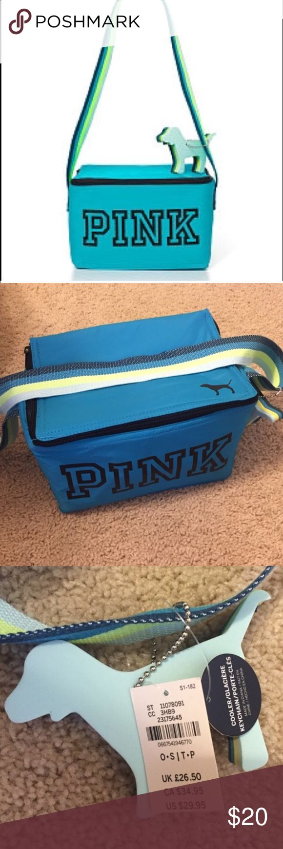 Blue :) PINK by Victoria's Secret Lunch Box Cooler Lunch box/ Beach cooler. NWT. Blue. Dog Logo Key Chain. No trades PINK Victoria's Secret Bags
