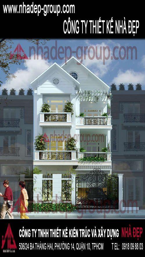 """Mẫu nhà phố đẹp - 1  Thoát ra khỏi một công trình kiến trúc thông thường, nhà phố đẹp mang dáng vẻ yêu kiều và kiêu sa của một """"cô gái thị thành"""""""