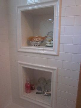 built in shelves in shower. love the molding