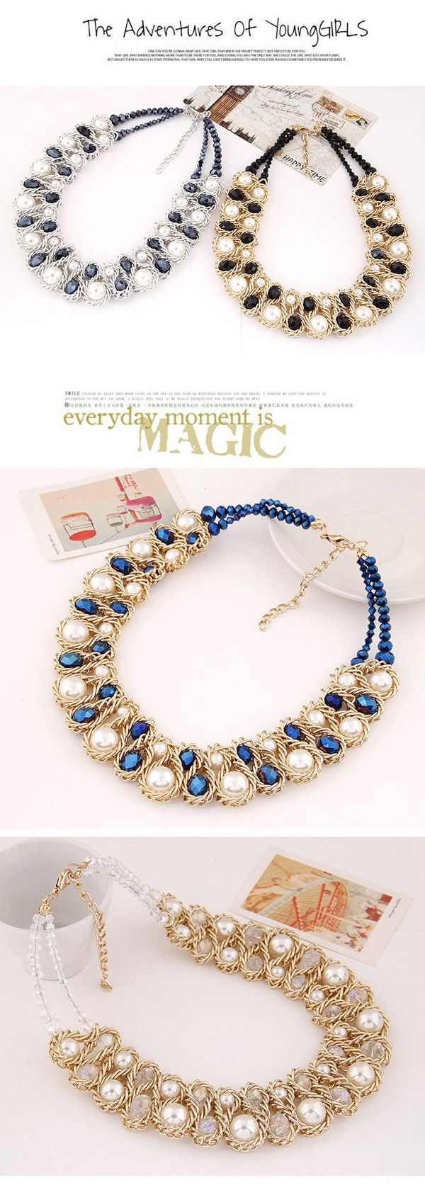 Luxurious White & Blue Beads Decorated Weave Design Alloy Bib Necklaces,Bib Necklaces