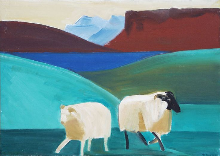 "Louisa Matthiasdottir, ""Two Sheep and Water"", c. 1984, Oil on canvas, 21 1/8 x 29 5/8 inches"