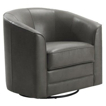 Emerald Home Furnishings Milo Bonded Leather Swivel Chair - Gray
