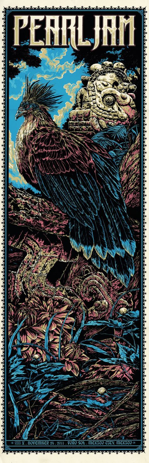 Pearl Jam Classic rock psychedelic music poster ☮~ღ~*~*✿⊱ レ o √ 乇 !! ~