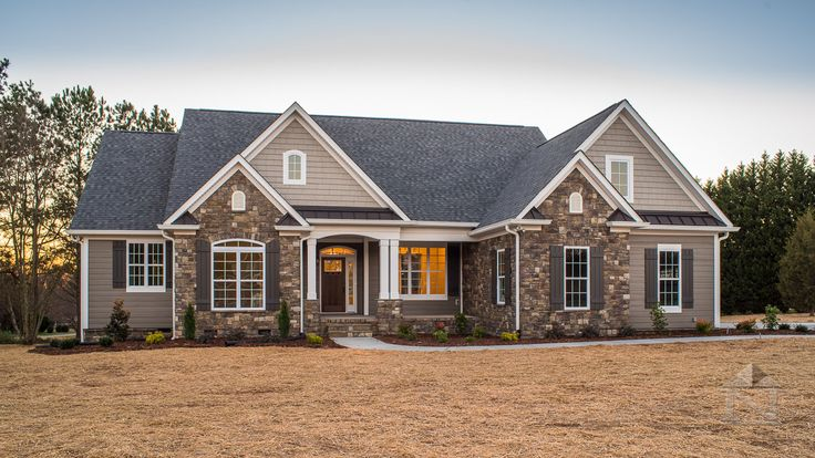 New construction home built by North Point Custom Builders in Shelby, NC.  Exterior consists of stone accents and white trim.