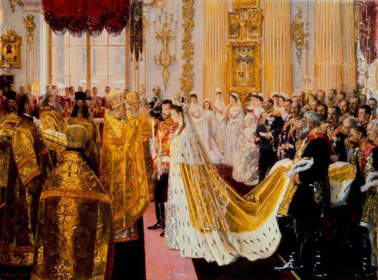 Apenas um mês depois da morte do pai de Nicholas, Alexander III - Corte luto foi suspensa para o dia - o casamento foi celebrado na Grande Igreja do Palácio de Inverno. Excepcionalmente, o manto de Alexandra é de pano-de-ouro, em vez de veludo carmesim; Suponho que isso era porque ela estava se casando com um monarca reinante em vez de um grão-duque ou príncipe estrangeiro. Uma pintura do artista dinamarquês Laurits Tuxen.