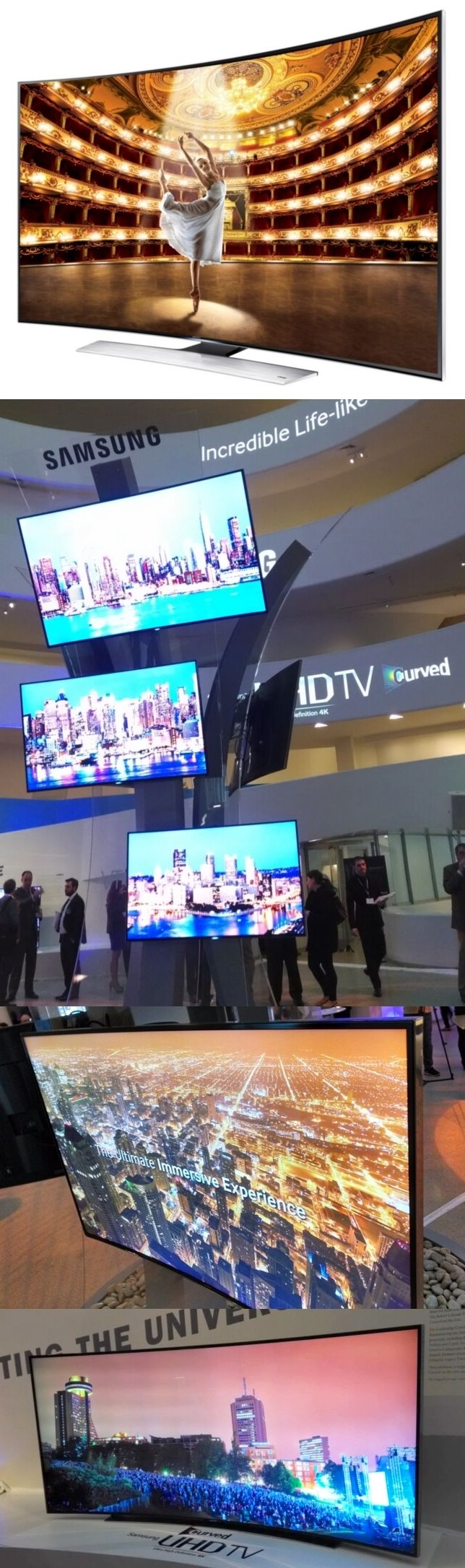 Samsung used the curvy confines of New York's Guggenheim Museum to launch its new curved UHD (ultra-high definition) TVs. The 55-inch ($4,000) and 65-inch ($5,000) Samsung HU9000 series curved UHDTVs go on sale this month while an $8,000 78-inch model will debut in May. A yet-unpriced 105-inch curved UHD TV is planned for later this year. All of the curved UHD TVs can upscale old videos into the sharper UHD format and all have smartphone-like quad-core processors for the many apps they can…