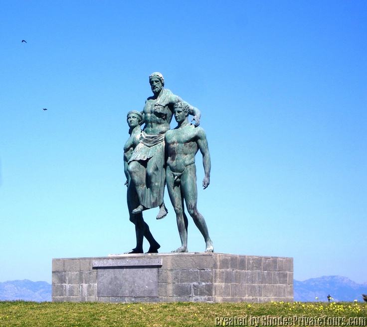 Diagoras of Rhodes carried in the stadium by his two sons - New Town Rhodes Island Greece