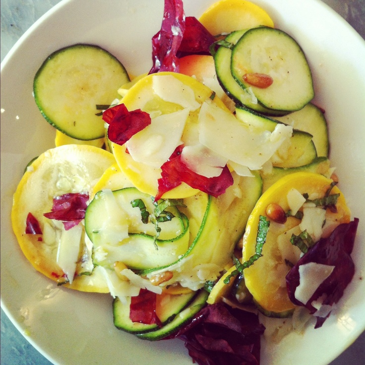 Raw zucchini, dried beet and smoked provolone salad with pine nuts from Prune in New York