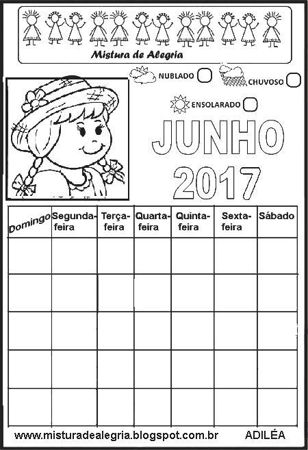 CALENDÁRIOS DE 2017 PARA IMPRIMIR, COMPLETAR E COLORIR-Mistura de Alegria