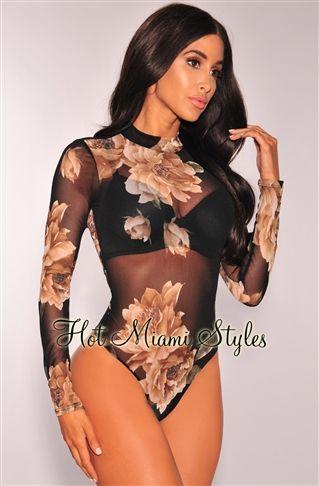 Black Sheer Mesh Nude Floral Print Long Sleeves Bodysuit