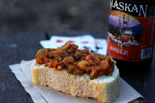 eggplant caponata- good fresh and hot or at room temp, said to only get better as it sits
