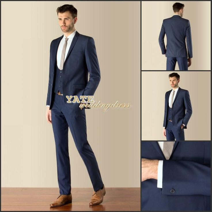 most fashion 2015 teen mens wedding wear navy blue two