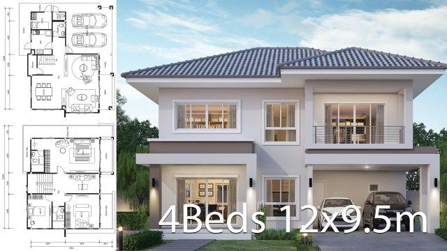 House Design Plan 12x9 5m With 4 Bedrooms Home Ideassearch Philippines House Design Home Design Plans Duplex House Design