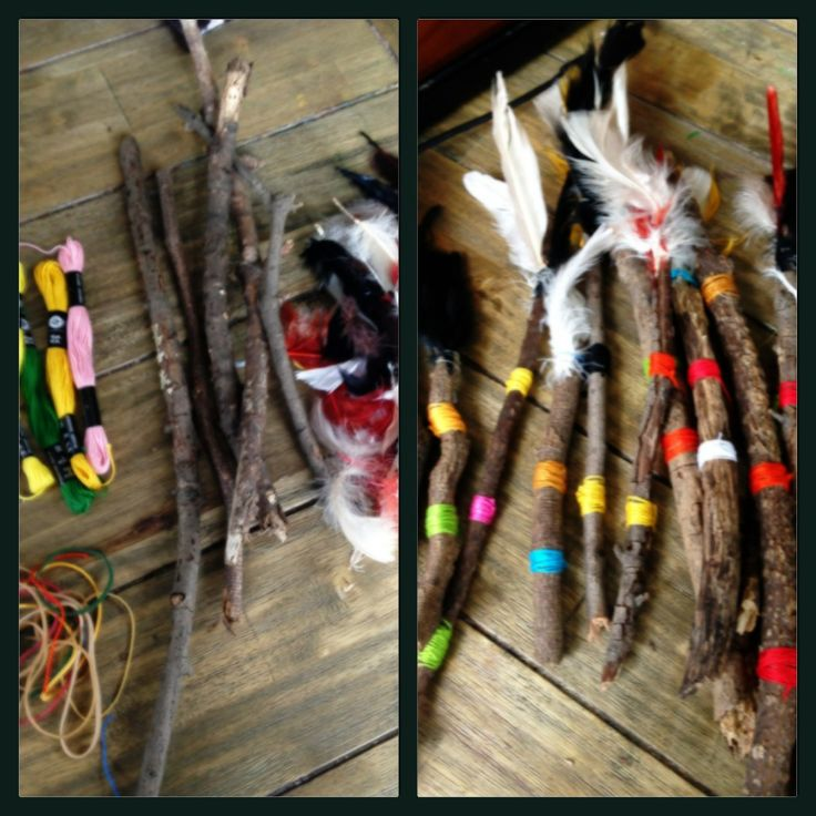 Talking Sticks for Pow Wow party. Kids collected sticks. We used rubber bands to attach feathers added colorful embroidery thread. Super simple!