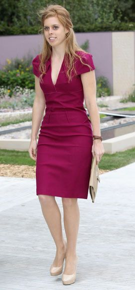 Princess Beatrice of York in Roland Mouret cranberry fitted dress
