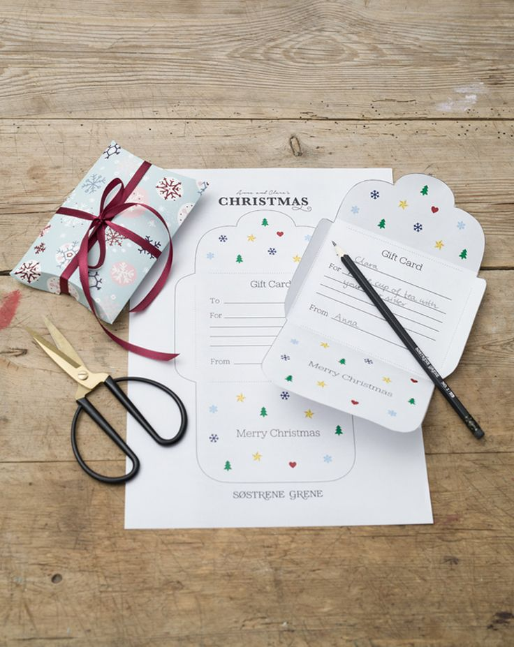 If you are a bit behind on the Christmas shopping, Anna has just the solution: a gift card template you can fill in yourself.