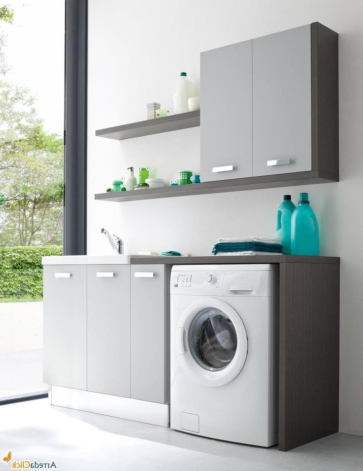 Natural stylish laundry room decoration ideas with small vanity cabinet and washing machine - Small space washing machines set ...