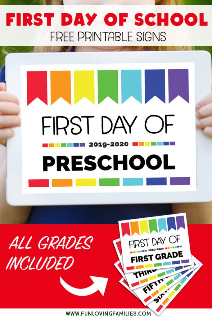 picture about First Day of Preschool Sign Free Printable referred to as 1st Working day of University Symptoms: Cost-free Printables for All Grades