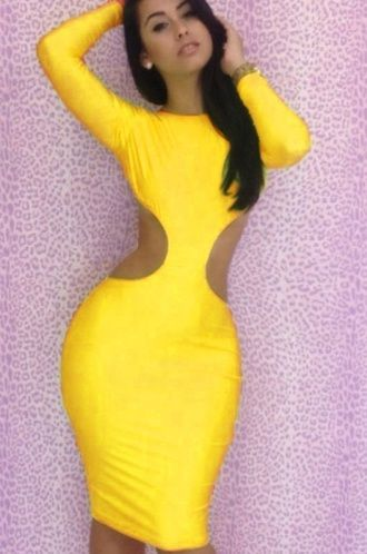Yellow bodycon dress with sleeves \u2013 Dress and bottoms