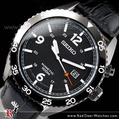 SEIKO Kinetic Black Bezel Leather Strap 100M Mens Watch SKA621P1