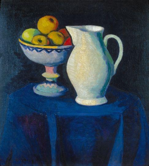 Czigány Dezső (1883-1938) Csendélet (Kékterítős csendélet), 1910 körül Olaj, vászon, 57x53 cm