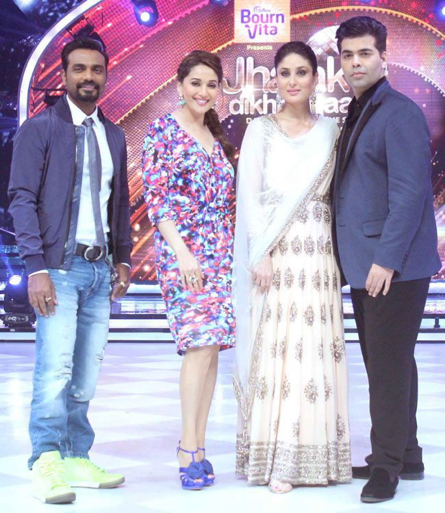 Remo D'Souza, Madhuri Dixit, Kareena Kapoor Khan and Karan Johar on 'Jhalak Dikhhla Jaa'. #Style #Bollywood #Fashion #Beauty