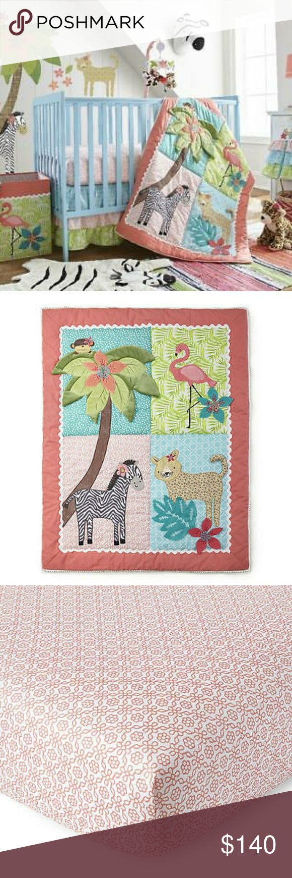 Levtex Baby Oasis 5 Piece Crib Bedding Features a tropical scene with a zebra, leopard, flamingo and monkey   Set includes : a Quilt, 100% Cotton coral printed Crib Fitted Sheet, a tiered Dust Ruffle, Diaper Stacker and a playful Wall Decal  Quilt: 36 inch x 45 inch, Fitted Sheet fits a standard 28 inch x 52 inch crib mattress  Dust Ruffle has a 16 inch drop Diaper Stacker is 16 inch x 10.5 inch x 8 inch wall decal measures 38.5 inch x 64.5 inch to create a mural-like scene   Brand New in…