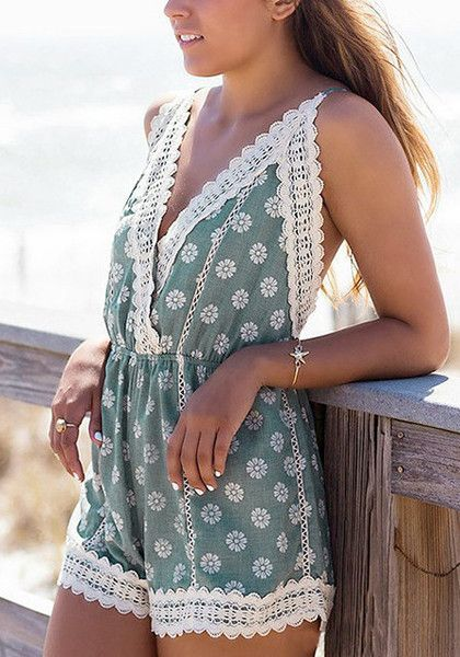 You'll love this blue green surplice romper. It is trimmed with wide white scallop lace, creating a soft, dainty contrast to its blue green cotton fabric. | Lookbook Jumpsuits and Rompers