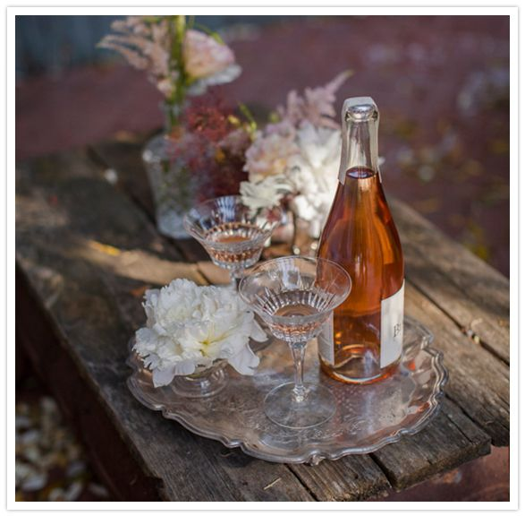 rustic garden beverage tray