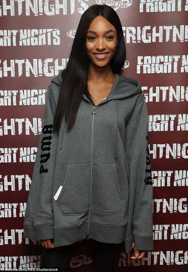 Jolly Jourdan: The model was in high spirits at the lauch party in Surrey town Chertsey on Thursday evening