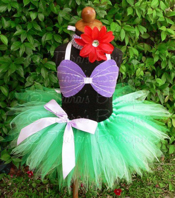 "Custom Sewn 11"" Girls Pixie Tutu Ariel Costume - sizes Newborn up to 5T - tutu, seashell top, and flower headband - For Halloween on Etsy, $45.00"