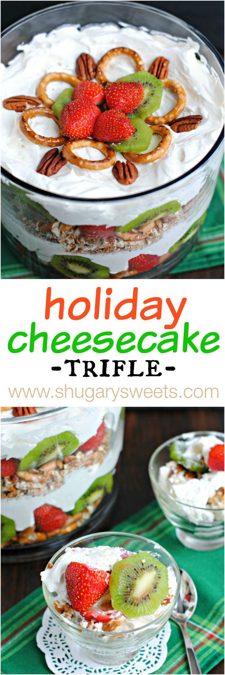This Holiday Pretzel Cheesecake Trifle is a huge crowd pleaser. Easy to assemble, this no bake cheesecake filling is light and refreshing too!