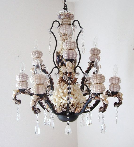 Chandelier Seashells Sea Urchins and Coral by SandisShellscapes  beautiful!