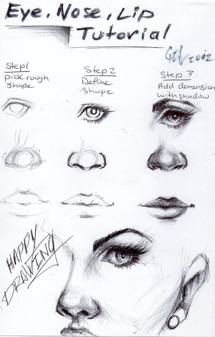 Eye, nose and lip tutorial by blucinema.deviantart.com on @deviantART