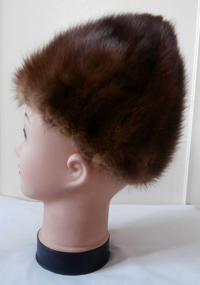 d49eeceb9 Vintage 1950s Genuine Brown Mink Fur Beret Style Winter Hat w ...