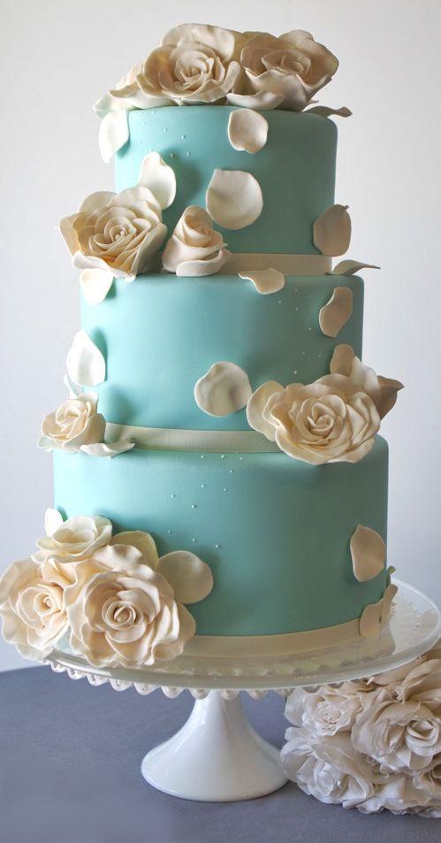 Stalk square gold wedding cakes