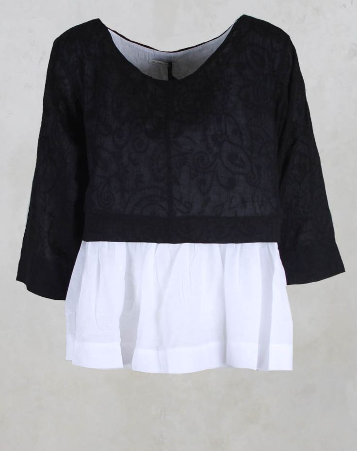 Layered Baby Doll Style Top in Black - Les Filles D'ailleurs