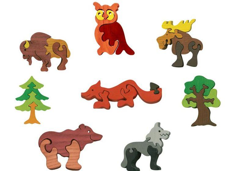 Puzzle animaux de la forêt en bois écologique. Déco, les puzzles tiennent debout ! Très belle qualité.