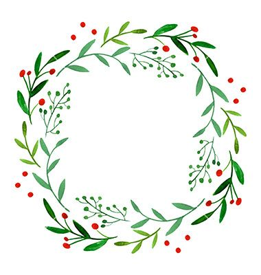 Watercolor wreath on VectorStock