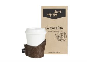 LA CAFEINA - TORNASOL Coffee lovers everywhere will love Art Hide's new Cafeína cowhide coffee cup holders. Designed for take away coffee, the Cafeína not only looks super stylish, but also keeps coffee warmer for longer and ensures you don't burn your hands! The Cafeína is available in a range of gorgeous Art Hide signature leathers and comes packaged in a rustic coffee bean style paper bag