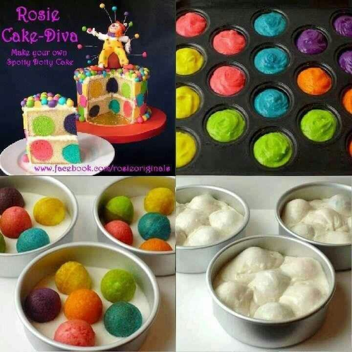 Make fun cake, from rosieoriginals.com, bake various colored ball cakes then put in pan with white cake batter n bake, voila you have polka dot cake.
