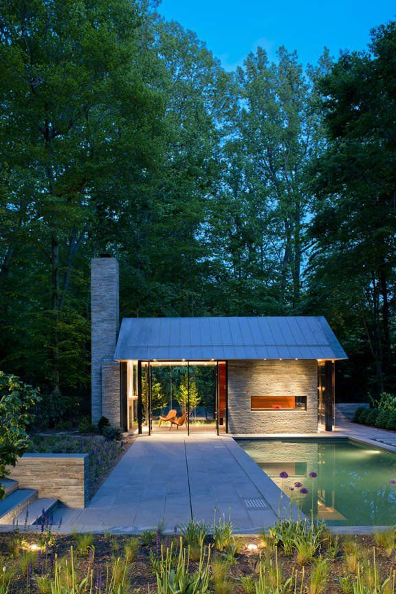 Nevis Pool and Garden Pavilion by Robert M. GurneyGardens Pavilion, Tiny House, Guest House, Pools House, Glasses Wall, Nevis Pools, Pools Gardens, Fireplaces Wall, Small House
