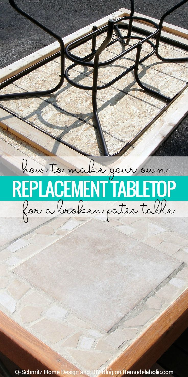48 outdoor glass table top replacement - How To Replace A Patio Table Top With Tile