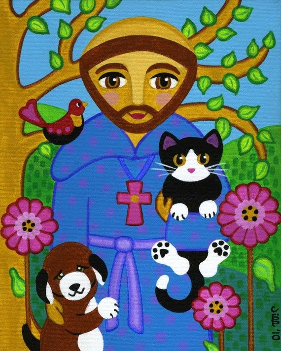 Saint FRANCIS of Assisi with CAT and Dog Folk Art PRINT from Original Painting - by Jill