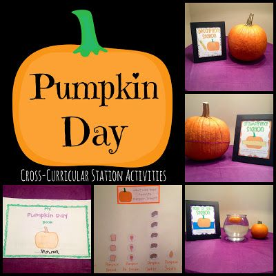 Pumpkin Day - Cross-Curricular Station Activities for a non-scary Halloween classroom study!  Includes math, science, writing, and much more!