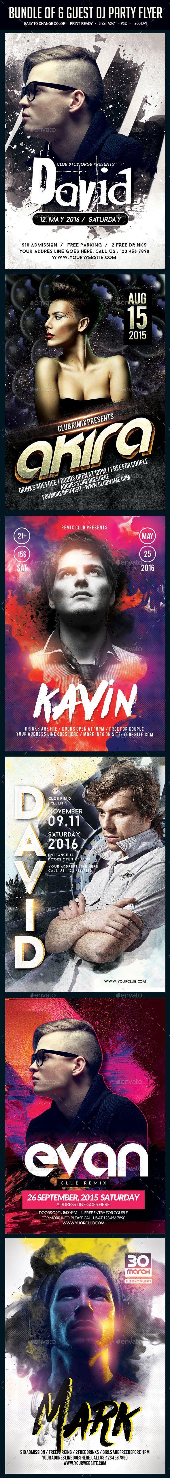 6 poster design photo mockups - Bundle Of 6 Guest Dj Party Flyers