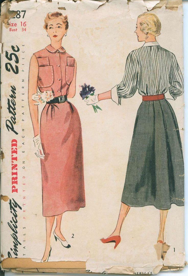 1940s semplicità 3287 Abito da cucire modello Vintage taglia 16 busto 34 Shirtdress di OhSewCharming su Etsy https://www.etsy.com/it/listing/205343522/1940s-semplicita-3287-abito-da-cucire